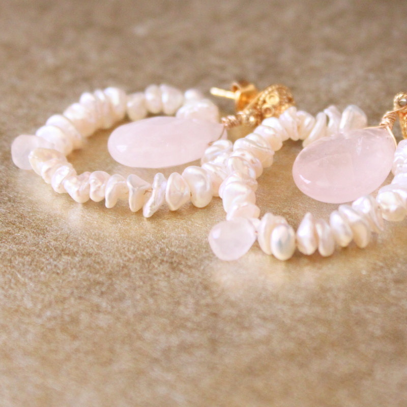 Cream Keishi Pearl Rose Quartz Earrings Gold Vermeil Ear Posts Bridal Bridesmaid Earrings