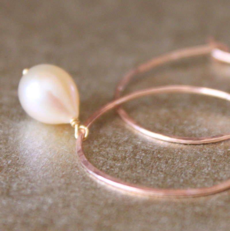 DROPS--Hammered Rose Gold Fill and Pink Pearl Hoop Earrings