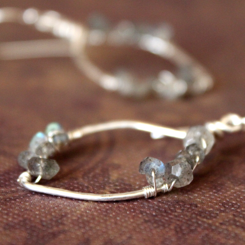 JULIE--Hammered Sterling Silver Leaf Hoop and Labradorite Earrings
