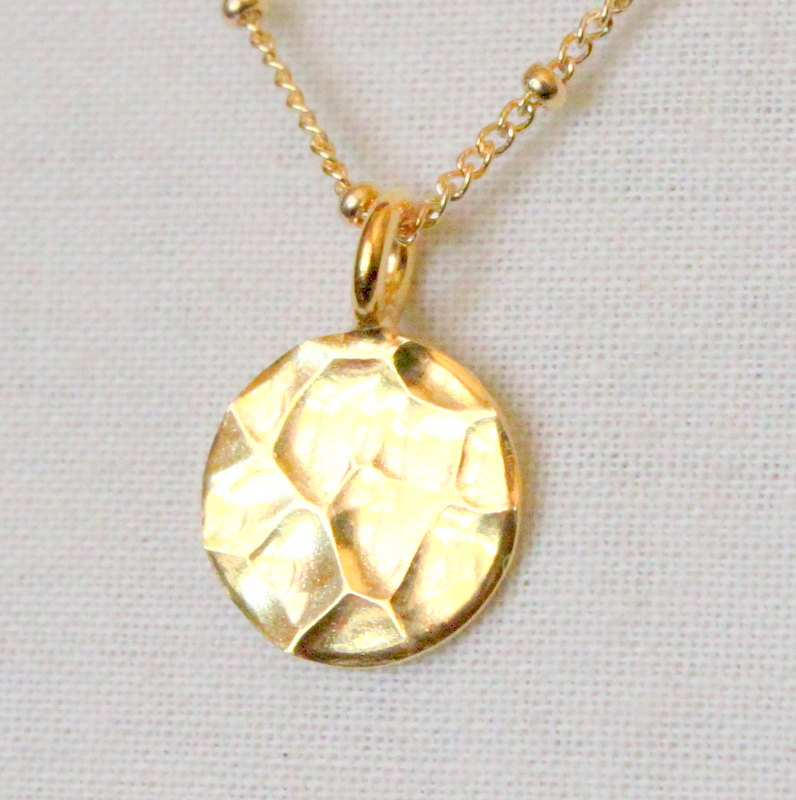 POOL--Bali Gold Vermeil Hammered Disc Necklace