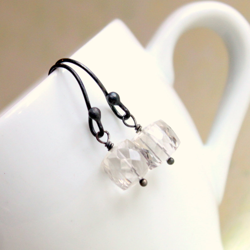 ICECUBE NUIT--Faceted Rock Crystal and Oxidized Sterling Silver Cube Earrings
