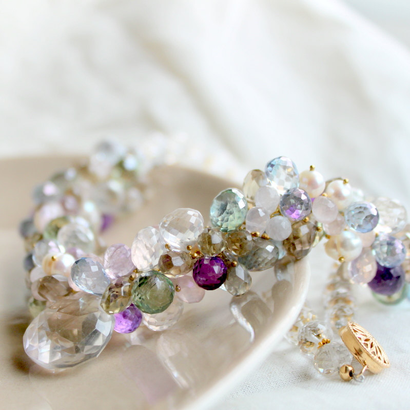 PASCALE--Rock Crystal and Multicolor Gemstone Bridal Necklace