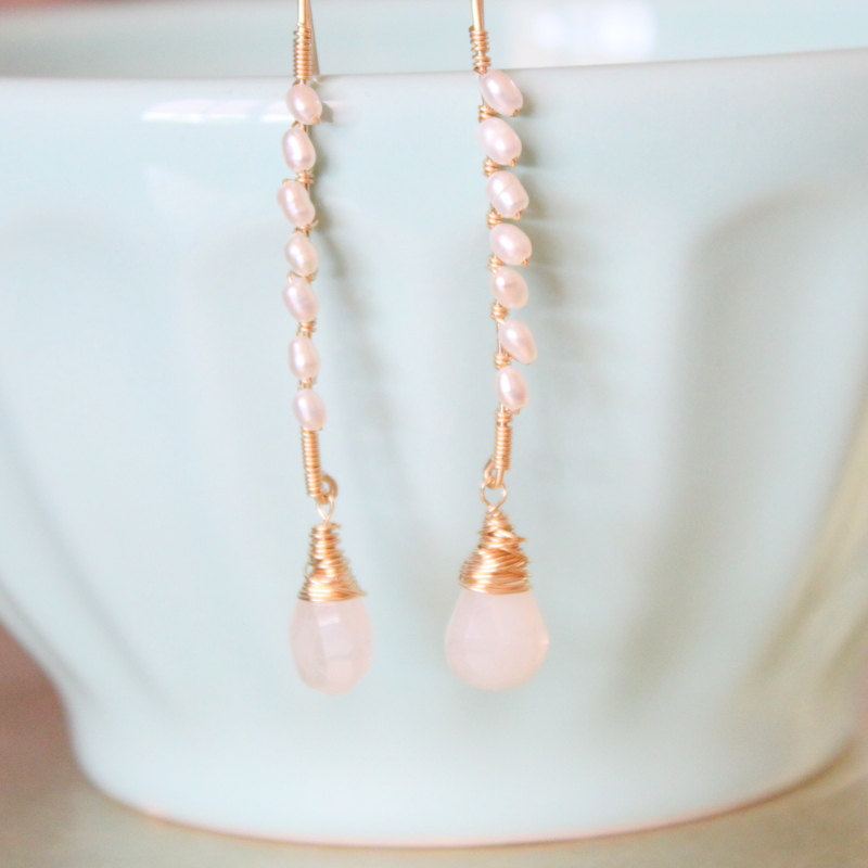 White Seed Pearls and Pearlescent Chalcedony Gold Earrings