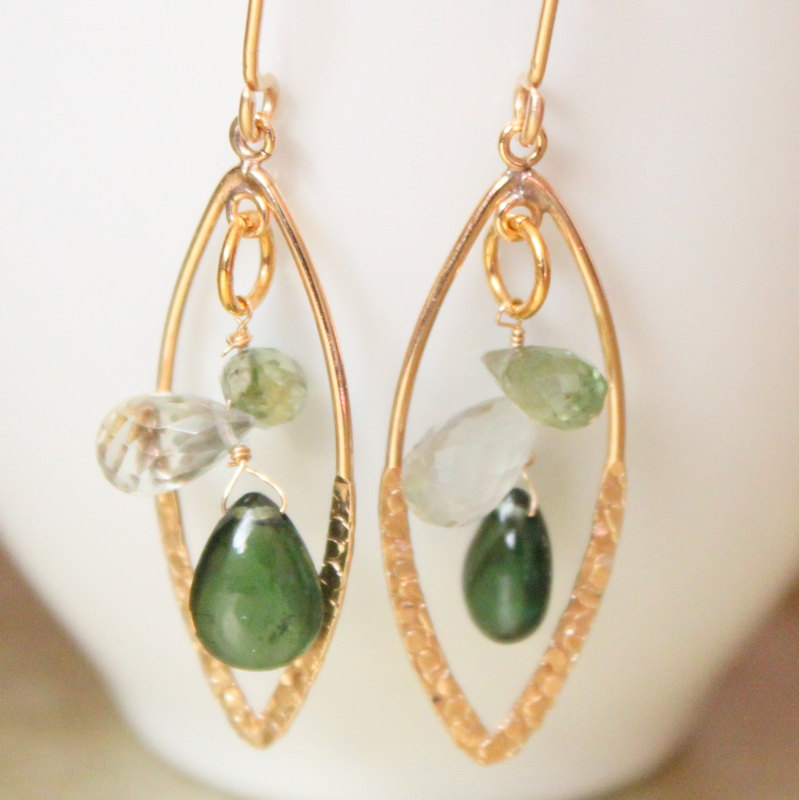EMERALD--Green Stone Gold Hoop Earrings