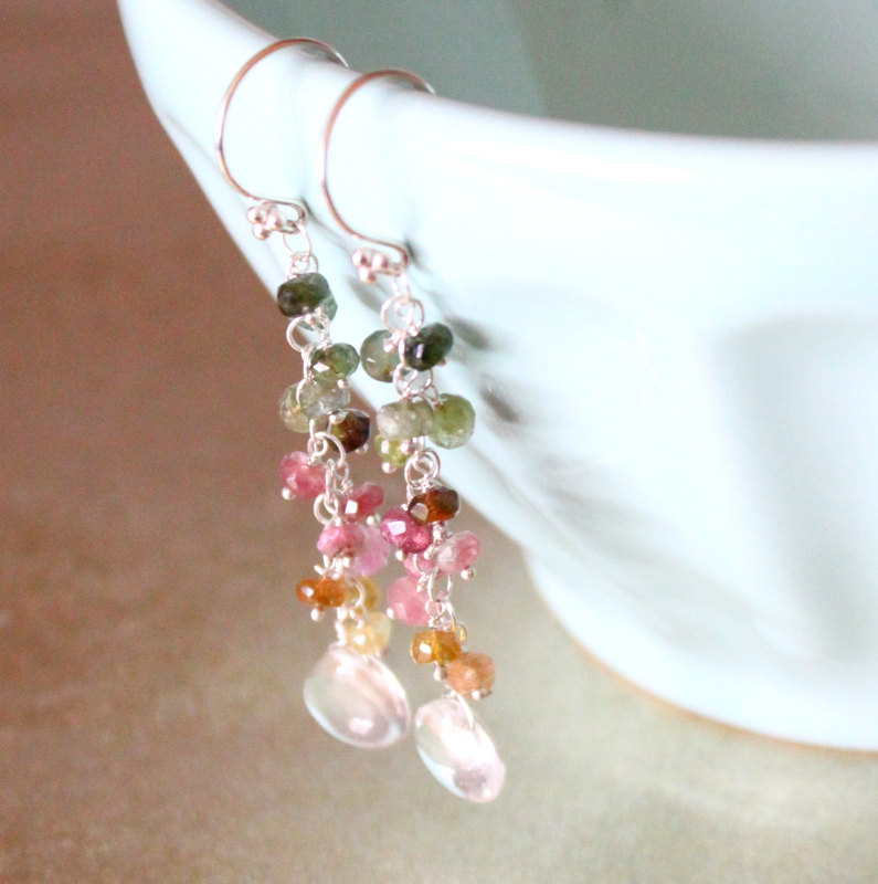 Arc en Ciel-- Rock Crystal and Tourmaline Dangle Earrings