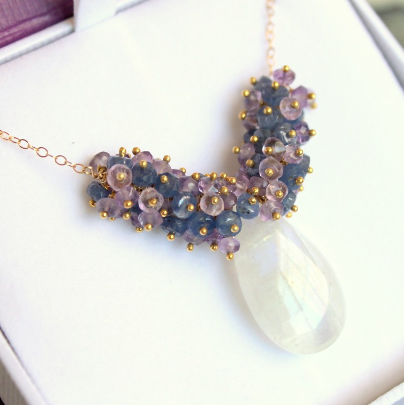 LILAC TREE--Amethyst and Sapphire Rondelles with Rainbow Moonstone Gold Fill Necklace