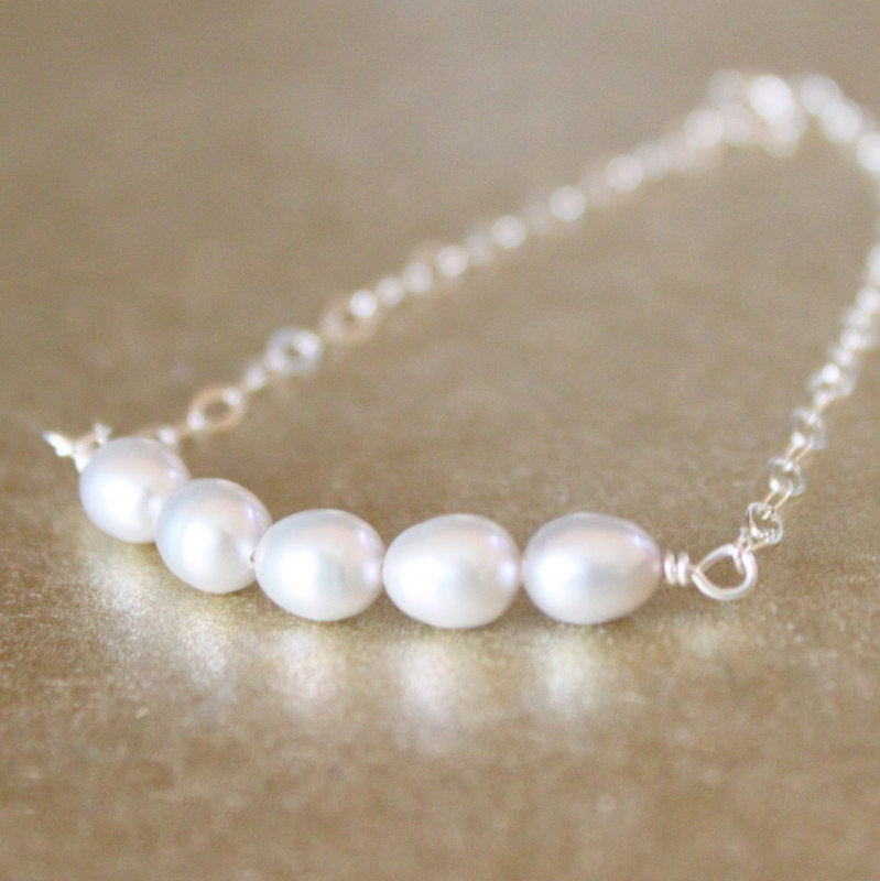 Light Gray Freshwater Pearl Sterling Silver Chain Bracelet