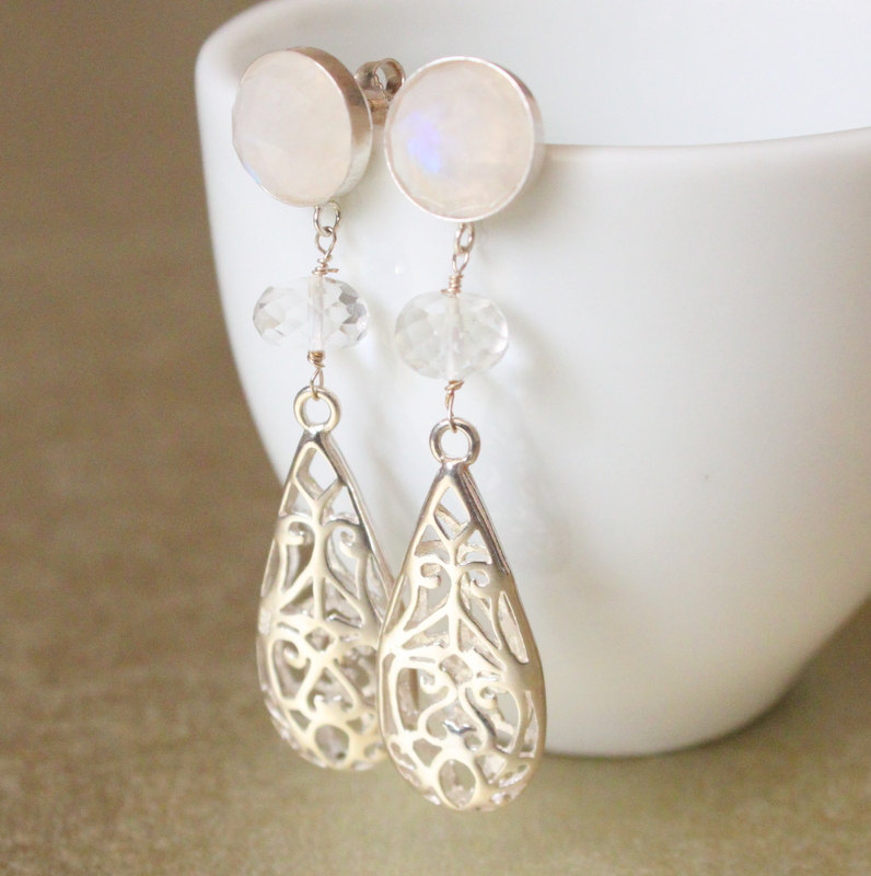 Moonstone Sterling Filigree Earrings