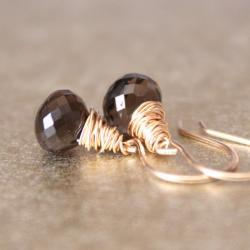 Smoky Quartz Yellow Gold Earrings Wirewrapped Bridesmaid Feminine