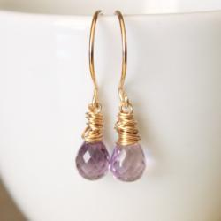 Lavender Amethyst Yellow Gold Earrings Wirewrapped Bridesmaid Feminine