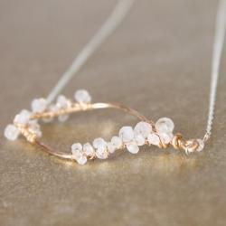 FELICITY NECKLACE--Hammered Gold Fill Leaf Frame and Rainbow Moonstone Necklace