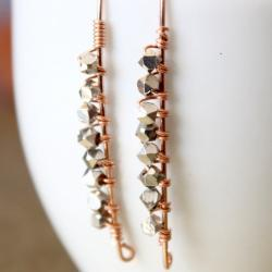 Bali Sterling Nugget Bead Rose Gold Earrings Long Marquise Wire