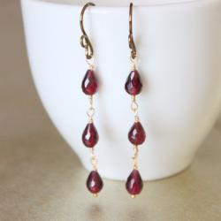 Garnet Teardrop Gold Fill and Copper Dangle Earrings