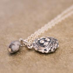 SPECKLED--Sterling Egg Nest Charm and Speckled Agate Egg