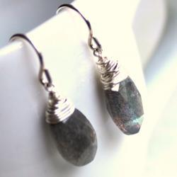 SALE--STARRY--Labradorite and Sterling Silver Earrings