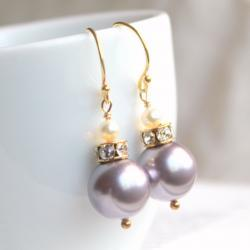 BELLA GOLD--Swarovski Crystal Pearl Gold Fill Earrings--you choose the color