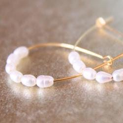 White Pearl Gold Hoops