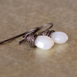 Pearl Chalcedony Earrings Antique Patina Sterling Silver Wirewrapped