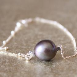 Black Freshwater Pearl Sterling Silver Bracelet