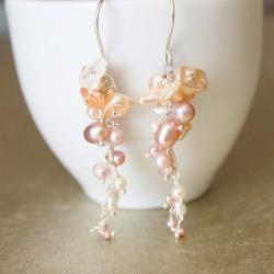 ELIZABETH--Pink and Cream Freshwater Pearl Gold Fill Dangle Earrings